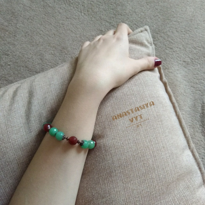 Подарочный набор «Темные ягоды»: серьги и браслет Зеленый моховой агат, рубеллит, м Вит Анастасия - фото 2