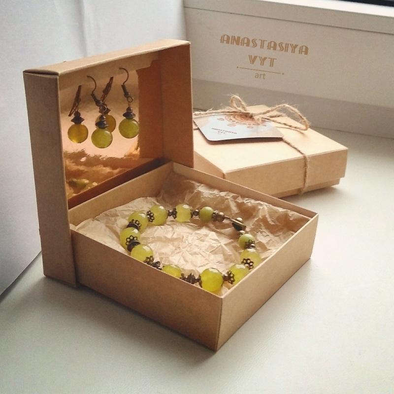 Подарочный набор «Березень»: серьги и браслет  хризолит, латунная фурнит Вит Анастасия - фото 1