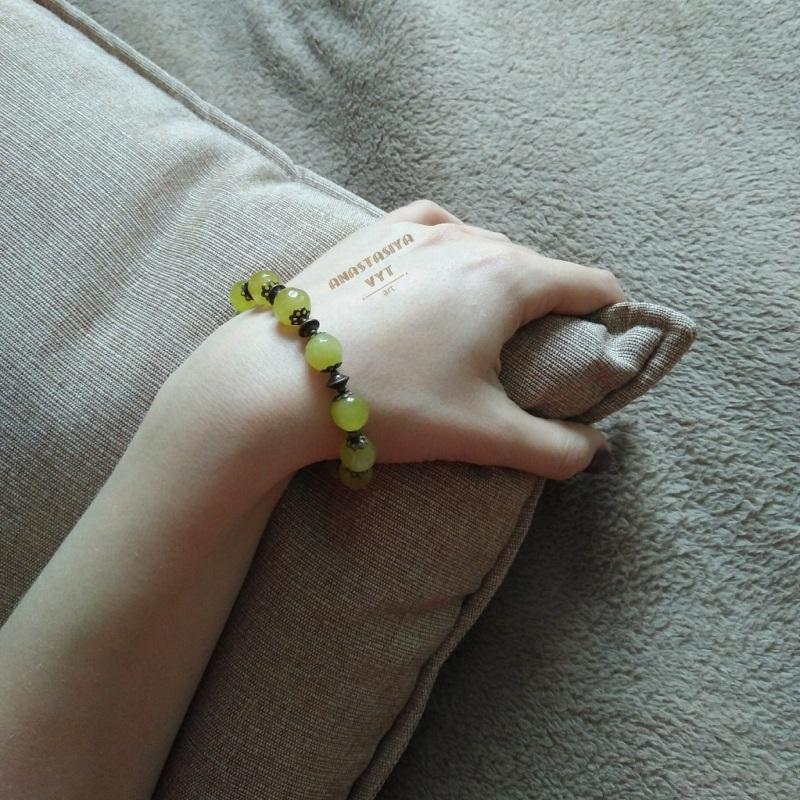 Подарочный набор «Березень»: серьги и браслет  хризолит, латунная фурнит Вит Анастасия - фото 2