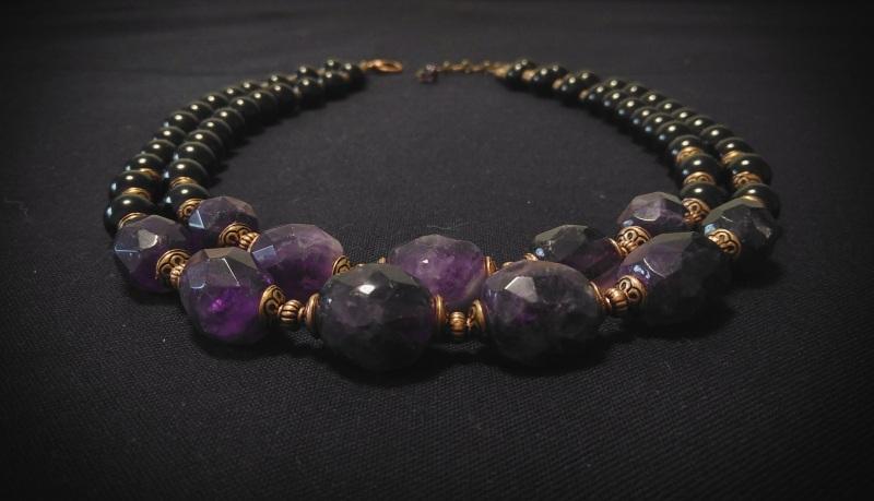 Ожерелье «Аметистовая симфония» Фиолетовый аметист, агат, медная фур Вит Анастасия - фото 4