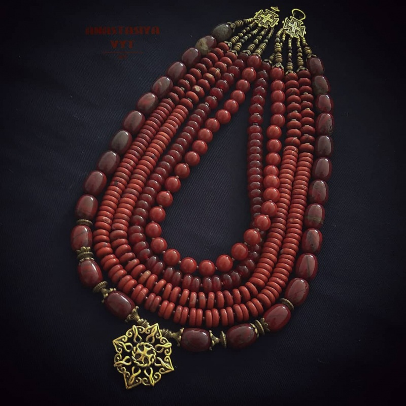 Кораллы из яшмы «Звездочка небесная»  яшма, сердолик, авторская Вит Анастасия - фото 2