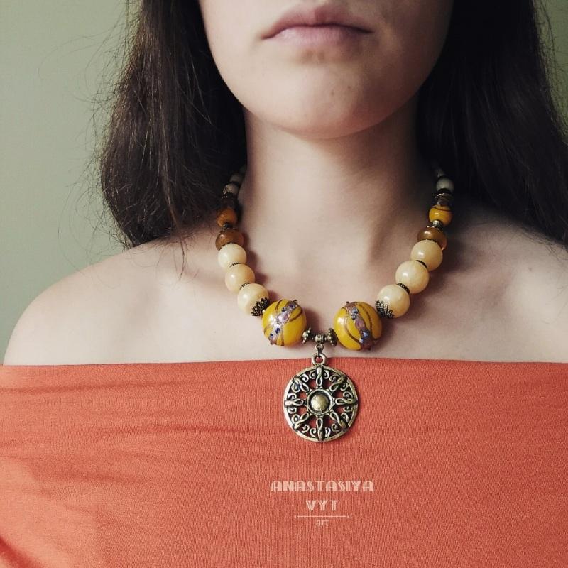 «Солнечное ожерелье»  оникс, светлый жадеит, ху Вит Анастасия - фото 2