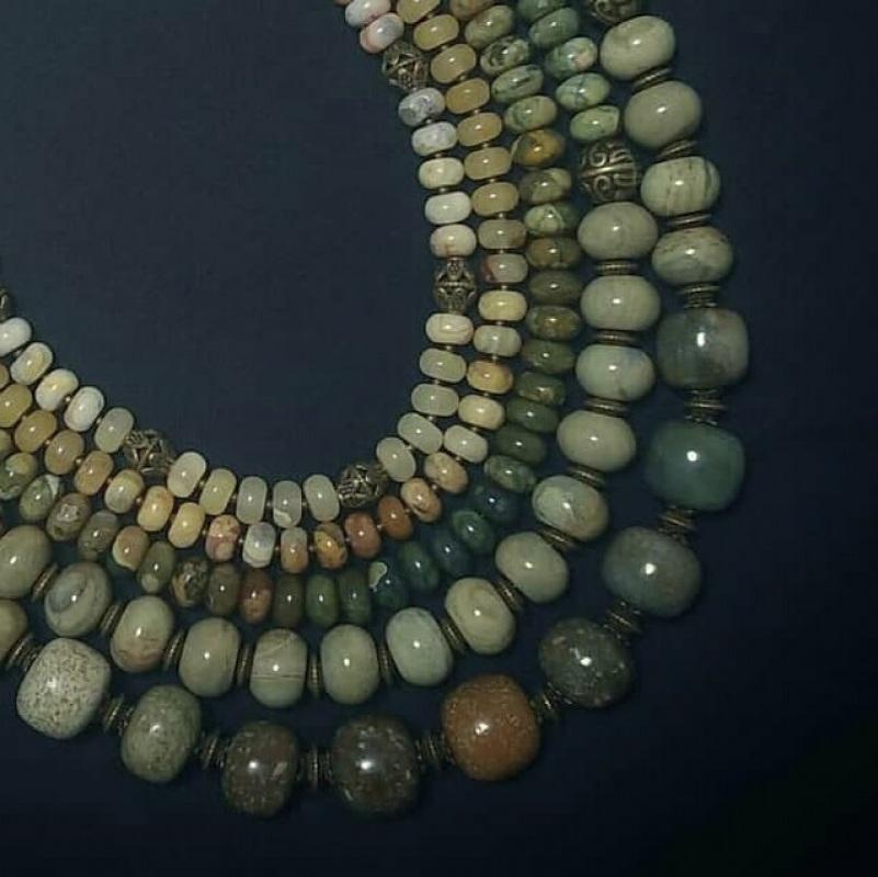 Ожерелье из яшмы «Камни жизни»  зеленая яшма разных оттен Вит Анастасия - фото 3