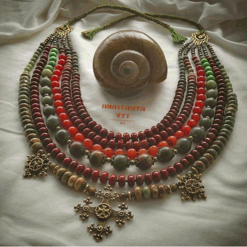 Ожерелье «Злагода»  яшма разных видов, сердол Вит Анастасия - фото 1