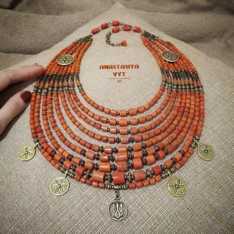 Бусы с Вашего материала на заказ Красный антикварный коралл Вит Анастасия - фото 1