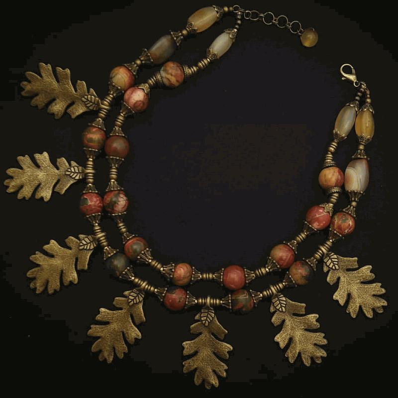 Ожерелье с дубовыми листиками «Спелая осень»  пейзажная яшма, латунь Вит Анастасия - фото 1