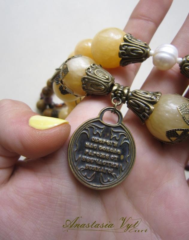"""Ожерелье """"Орел-оберег""""  оникс, яшма, речной жемчу Вит Анастасия - фото 3"""