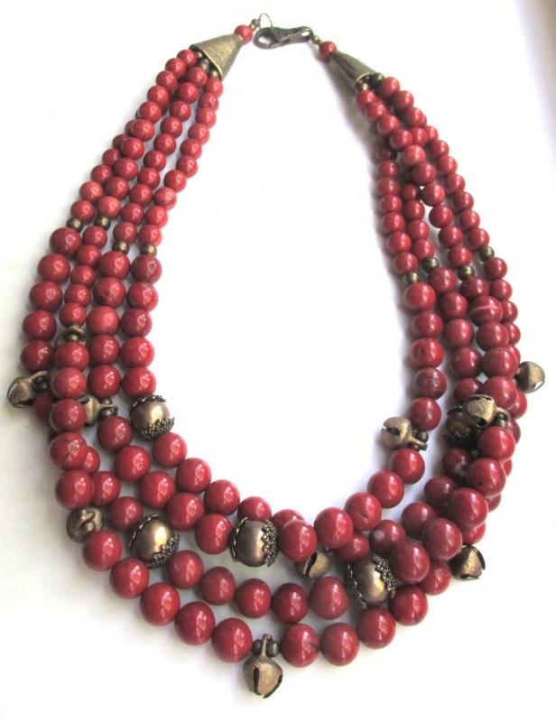 Ожерелье с шелестом  Яшма-кровавик, бижутерные Баклан Елена - фото 1