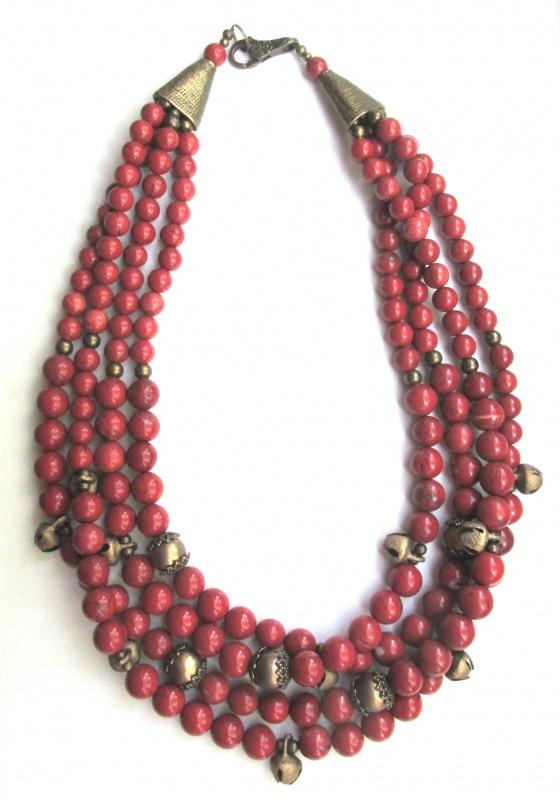 Ожерелье с шелестом  Яшма-кровавик, бижутерные Баклан Елена - фото 4
