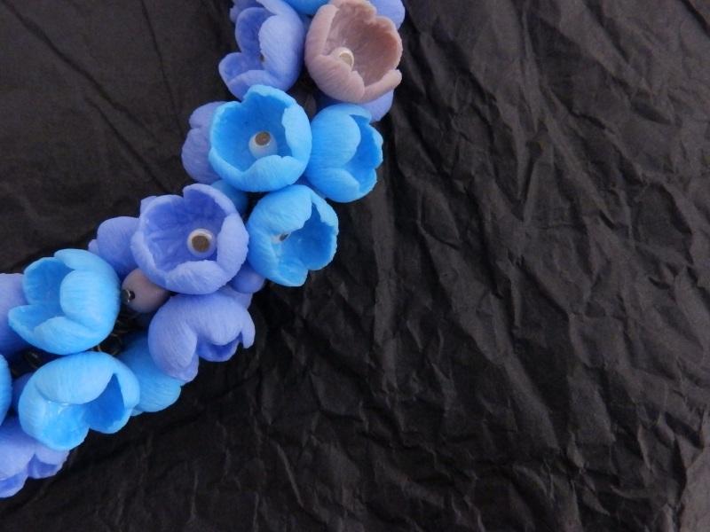 """Колье """"Цветы-бутоны"""" Голубой Полимерная глина, металли Яцькивська Елена - фото 3"""