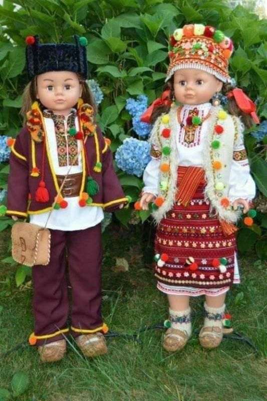 Коллекционные куклы в гуцульских костюмах  Нитки DMC, домотканное по Юрийчук Ганна - фото 1