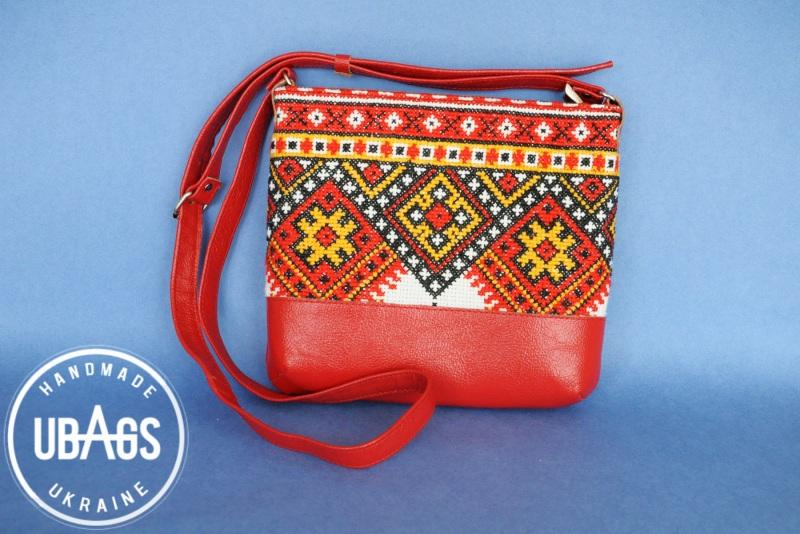 Сумка с аутентичной вышивкой 4 Красный Натуральная кожа, хлопок Ющенко Владимир - фото 1