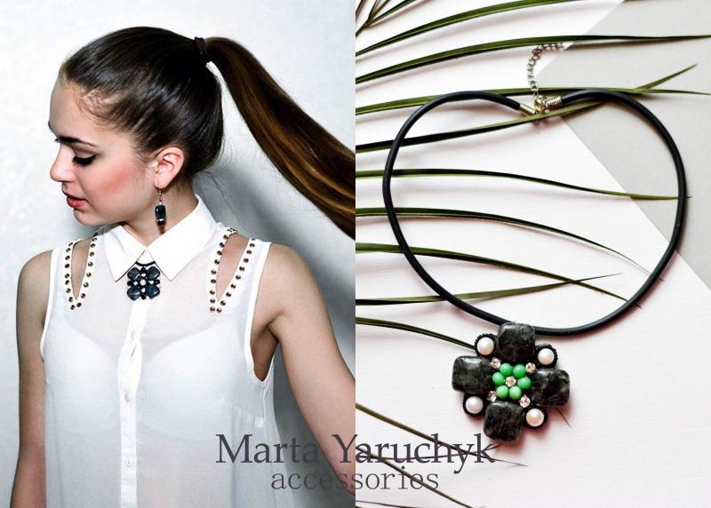 Сміливий чокер з кварцу, перлів та тигрового ока Чорний Сірий кварц-волосатик, рі Яручик Марта - фото 1