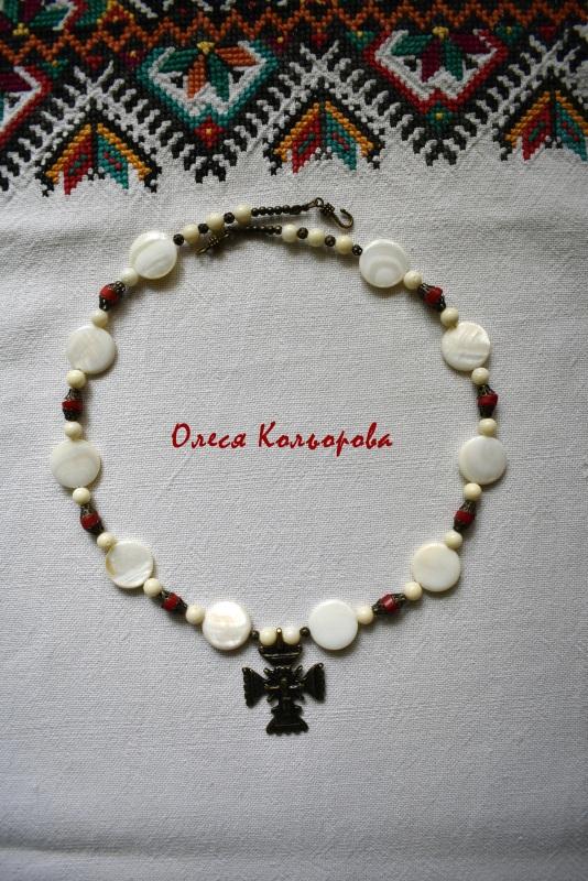 Ожерелье-Згарда Белый Перламутр-таблетка молочн Кольорова Олеся - фото 2