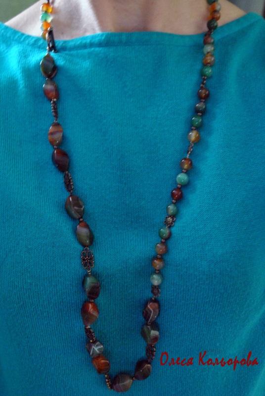 Веснянка Разноцветный Ожерелье из натурального Кольорова Олеся - фото 2
