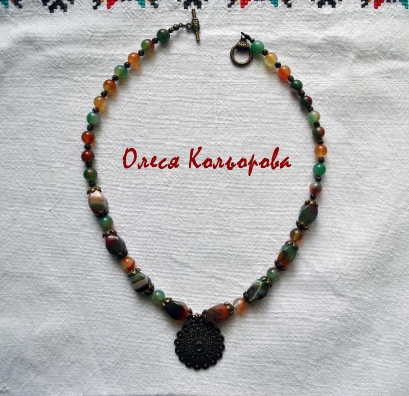Теплое ожерелье Разноцветный Натуральный агат, бронзов Кольорова Олеся - фото 1