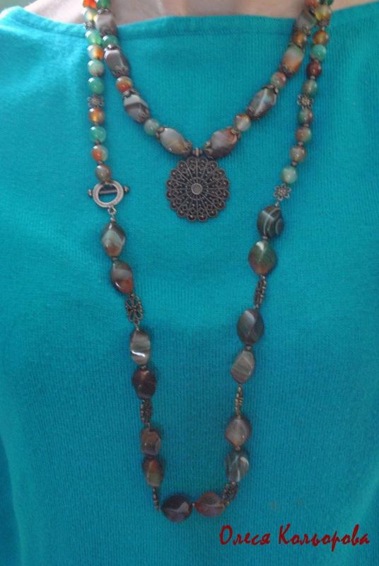 Теплое ожерелье Разноцветный Натуральный агат, бронзов Кольорова Олеся - фото 2
