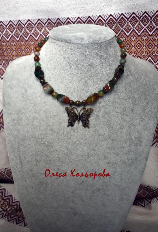 Летнее настроение Разноцветный Ожерелье-чокер из натурал Кольорова Олеся - фото 3