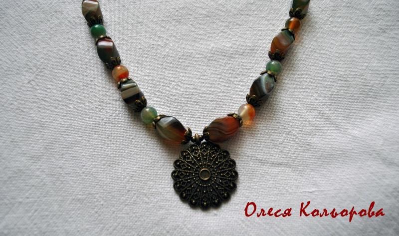Теплое ожерелье Разноцветный Натуральный агат, бронзов Кольорова Олеся - фото 3