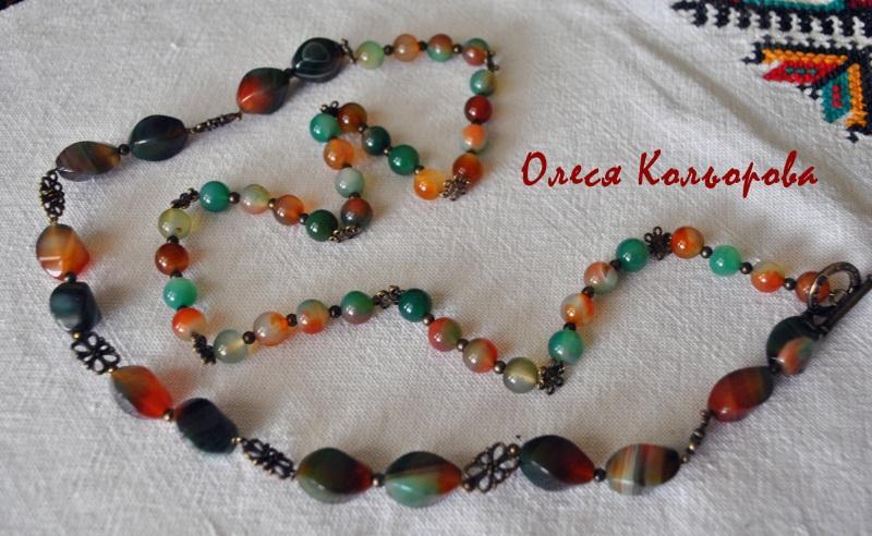 Веснянка Разноцветный Ожерелье из натурального Кольорова Олеся - фото 1