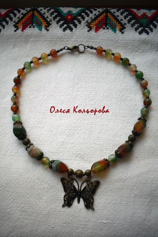 Летнее настроение Разноцветный Ожерелье-чокер из натурал Кольорова Олеся - фото 1