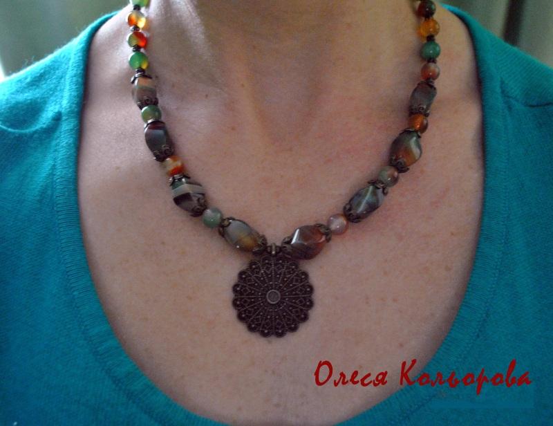 Теплое ожерелье Разноцветный Натуральный агат, бронзов Кольорова Олеся - фото 4