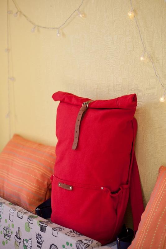 Рюкзак Roll Top Zipper (красный) Красный Хлопок Escargo - фото 4