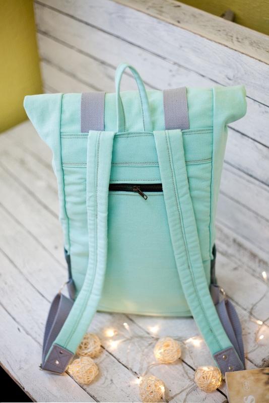 Рюкзак Roll Top Veggie (мятный) Зеленый Хлопок Escargo - фото 3