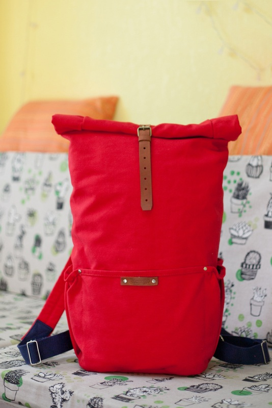 Рюкзак Roll Top Zipper (красный) Красный Хлопок Escargo - фото 1