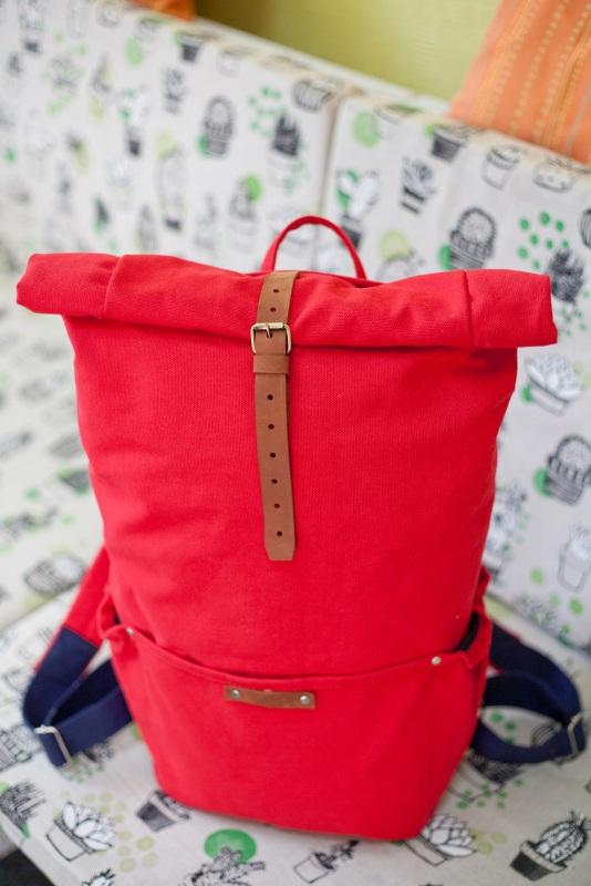 Рюкзак Roll Top Zipper (красный) Красный Хлопок Escargo - фото 2