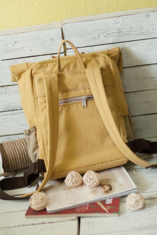 Рюкзак Roll Top Veggie Zipper (желтый) Желтый Хлопок Escargo - фото 4