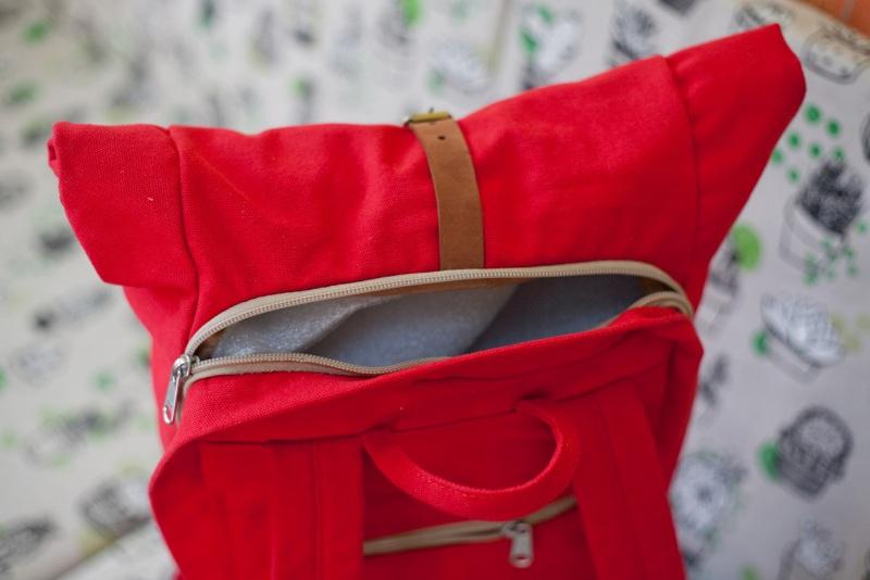 Рюкзак Roll Top Zipper (красный) Красный Хлопок Escargo - фото 5