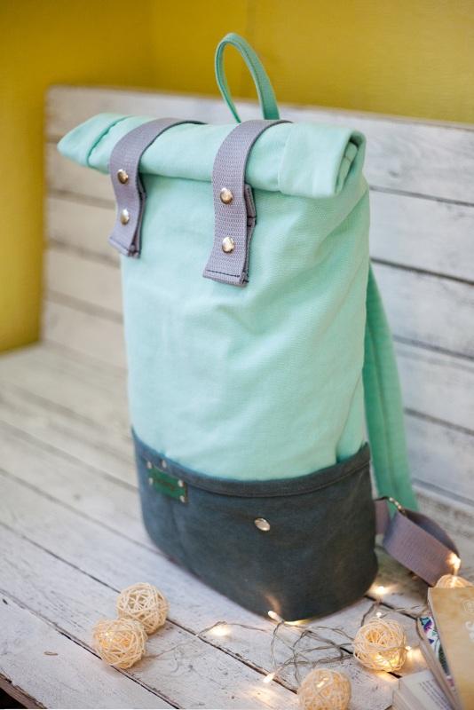 Рюкзак Roll Top Veggie (мятный) Зеленый Хлопок Escargo - фото 2