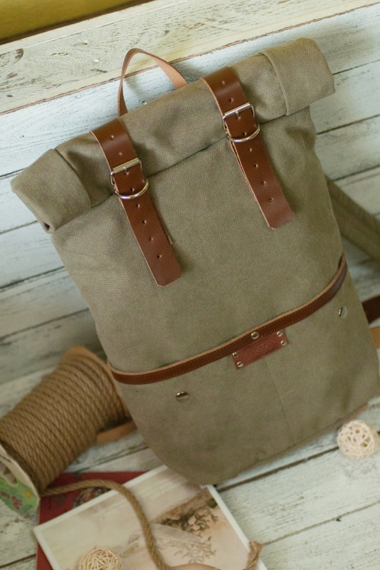 Рюкзак Roll Top Unique Хаки Хлопок, натуральная кожа Escargo - фото 4