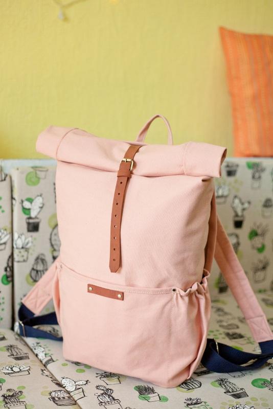 Рюкзак Roll Top Zipper (розовый) Розовый Хлопок Escargo - фото 1