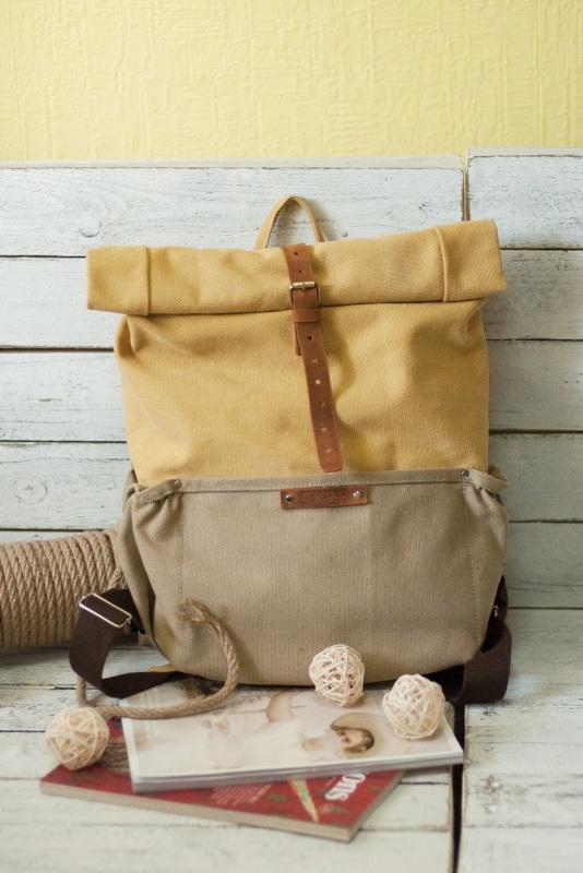 Рюкзак Roll Top Veggie Zipper (желтый) Желтый Хлопок Escargo - фото 1