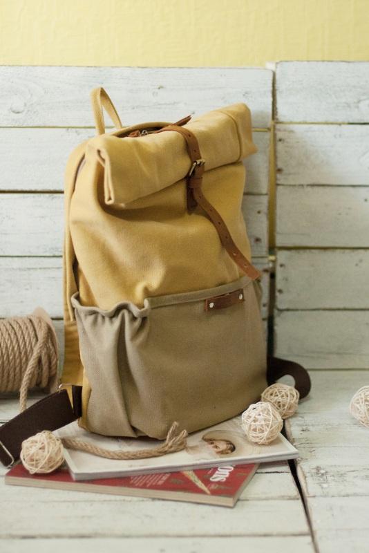 Рюкзак Roll Top Veggie Zipper (желтый) Желтый Хлопок Escargo - фото 2