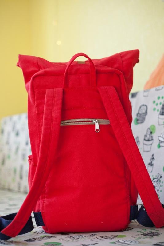 Рюкзак Roll Top Zipper (красный) Красный Хлопок Escargo - фото 6