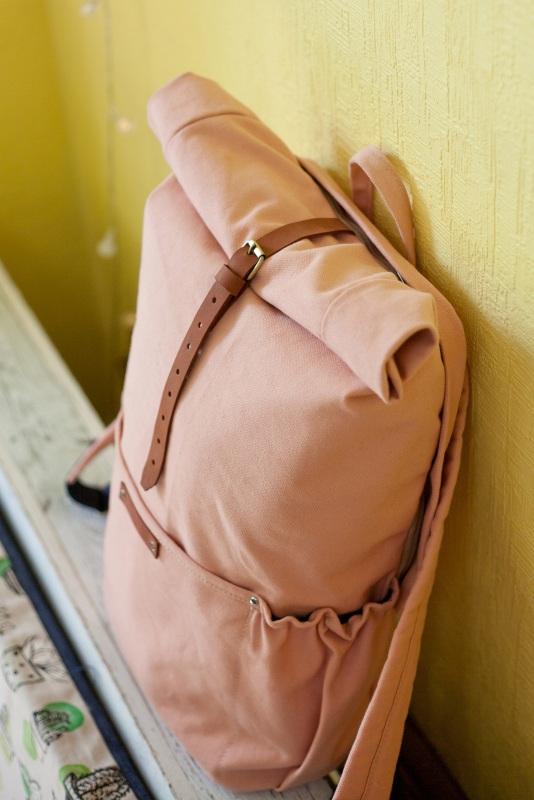 Рюкзак Roll Top Zipper (розовый) Розовый Хлопок Escargo - фото 5
