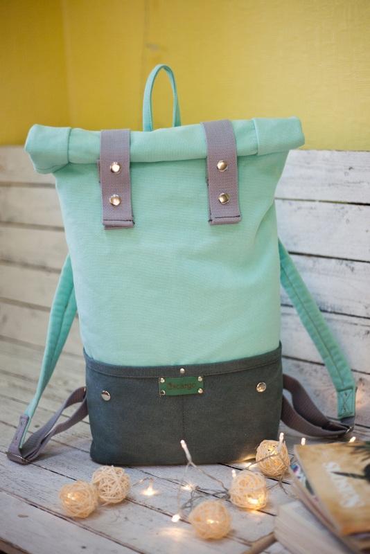 Рюкзак Roll Top Veggie (мятный) Зеленый Хлопок Escargo - фото 1