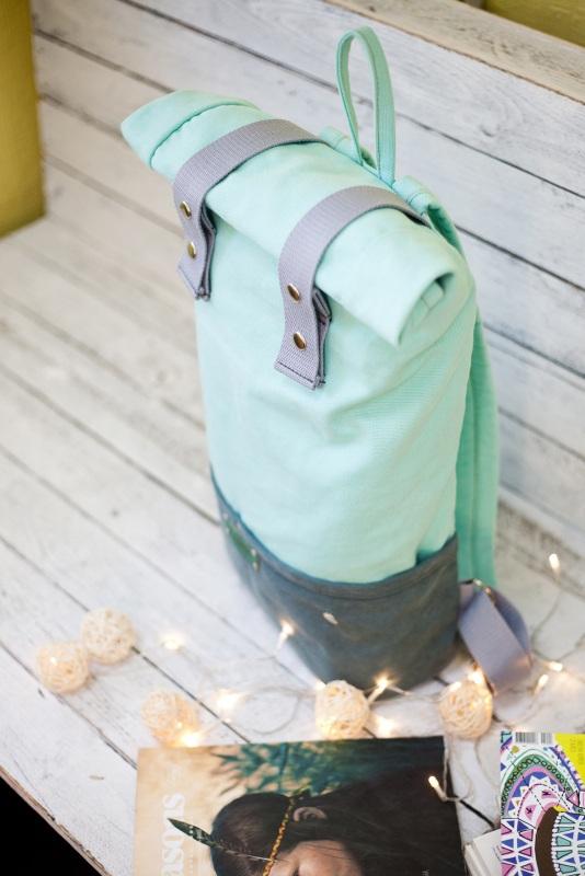 Рюкзак Roll Top Veggie (мятный) Зеленый Хлопок Escargo - фото 4
