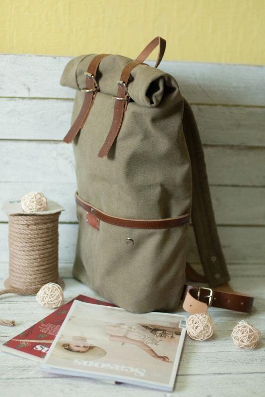 Рюкзак Roll Top Unique Хаки Хлопок, натуральная кожа Escargo - фото 3