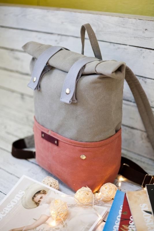 Рюкзак Veggie (серый/терракотовый) Серый Хлопок Escargo - фото 2