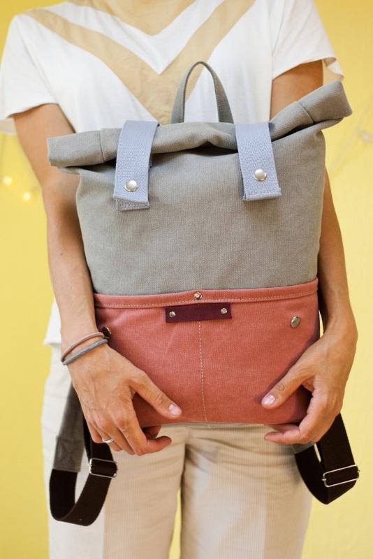 Рюкзак Veggie (серый/терракотовый) Серый Хлопок Escargo - фото 8
