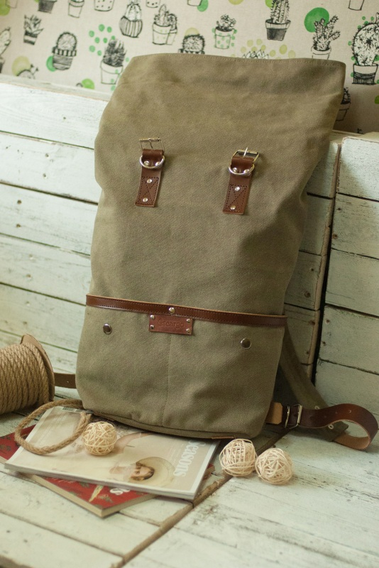 Рюкзак Roll Top Unique Хаки Хлопок, натуральная кожа Escargo - фото 8