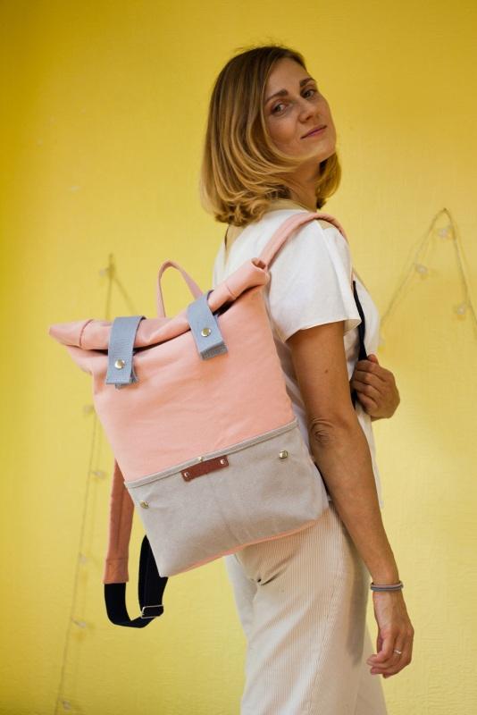 Рюкзак Veggie (серый/розовый) Розовый Хлопок Escargo - фото 4