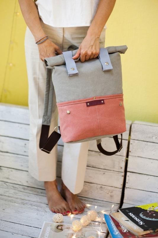 Рюкзак Veggie (серый/терракотовый) Серый Хлопок Escargo - фото 6