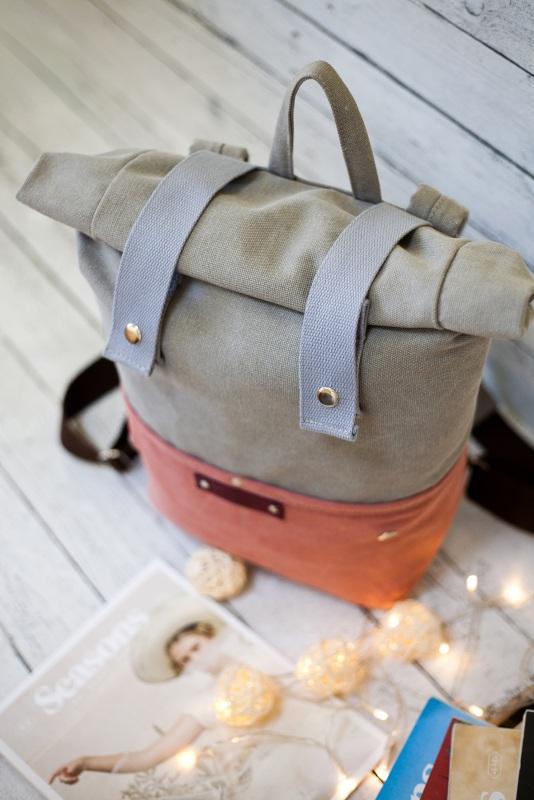 Рюкзак Veggie (серый/терракотовый) Серый Хлопок Escargo - фото 4