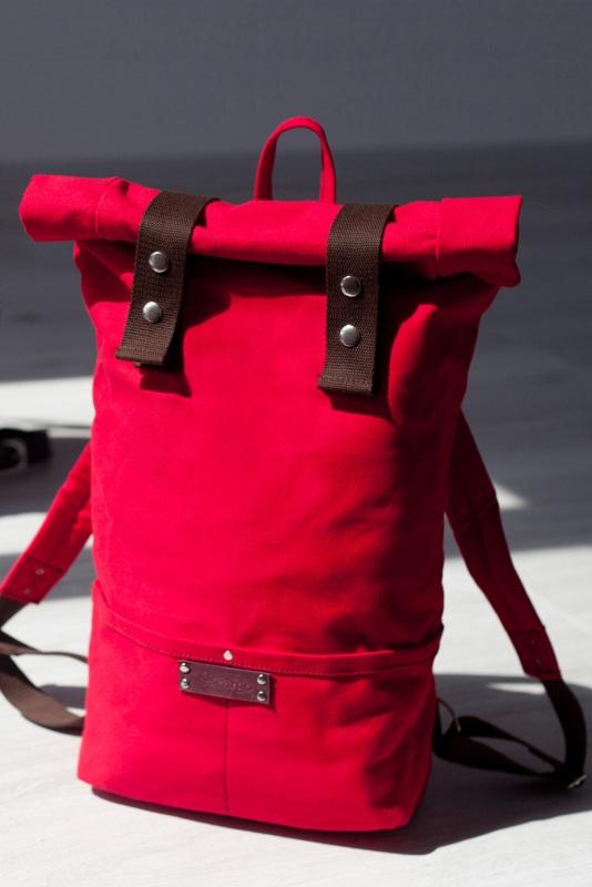 Рюкзак Roll Top Veggie (красный) Красный Хлопок. Escargo - фото 1
