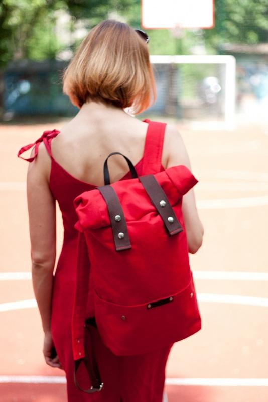 Рюкзак Roll Top Veggie (красный) Красный Хлопок. Escargo - фото 3